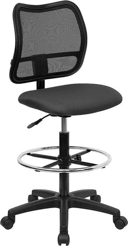 Mid-Back Mesh Drafting Stool with Gray Fabric Seat WL-A277-GY-D-GG by Flash Furniture - Peazz Furniture