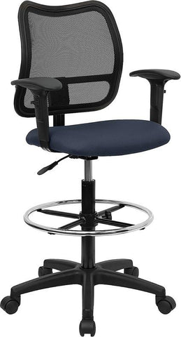 Mid-Back Mesh Drafting Stool with Navy Blue Fabric Seat and Arms WL-A277-NVY-AD-GG by Flash Furniture - Peazz Furniture