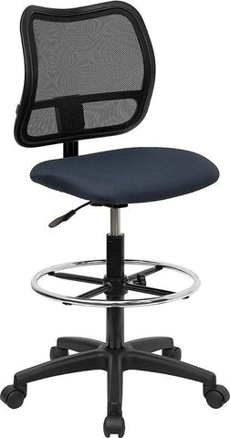 Mid-Back Mesh Drafting Stool with Navy Blue Fabric Seat WL-A277-NVY-D-GG by Flash Furniture - Peazz Furniture