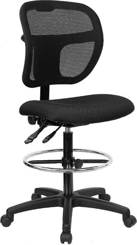 Mid-Back Mesh Drafting Stool with Black Fabric Seat WL-A7671SYG-BK-D-GG by Flash Furniture - Peazz Furniture