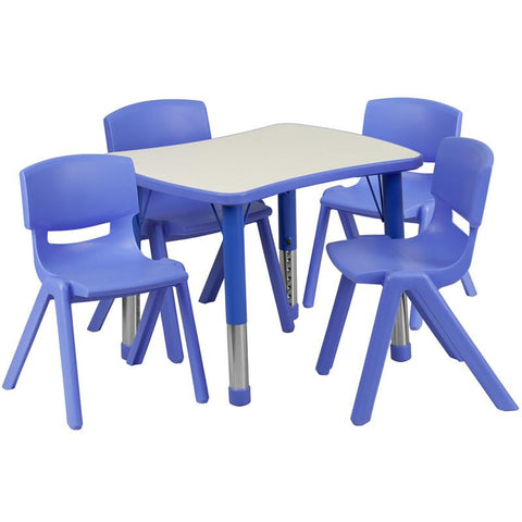 Flash Furniture YU-YCY-098-0034-RECT-TBL-BLUE-GG 21.875''W x 26.625''L Adjustable Rectangular Blue Plastic Activity Table Set with 4 School Stack Chairs - Peazz Furniture