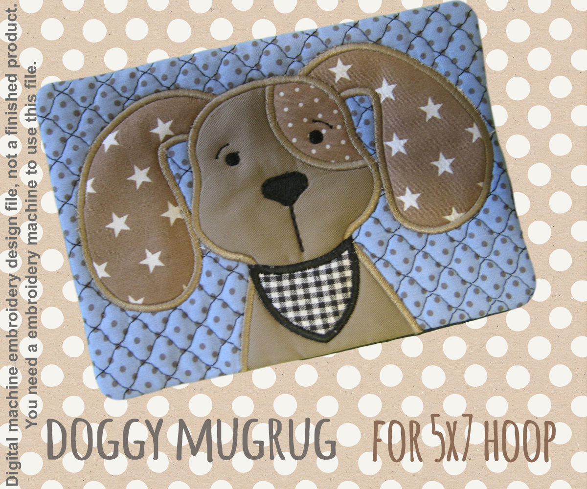 DOGGY mug rug - 5x7 hoop - In The Hoop - Machine Embroidery Design File, digital download millymellydesigns