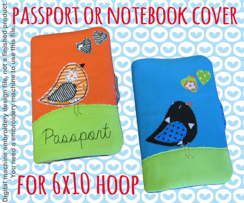 Passport or notebook cover - 6x10 hoop - ITH - In The Hoop - Machine Embroidery Design File, digital download millymellydesigns