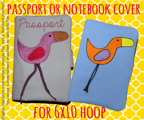 Passport or notebook cover - bird - 6x10 hoop - ITH - In The Hoop - Machine Embroidery Design File, digital download millymellydesigns