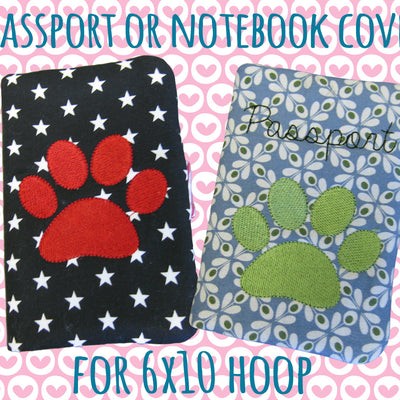 Passport or notebook cover - dog paw - 6x10 hoop - ITH - In The Hoop - Machine Embroidery Design File, digital download millymellydesigns