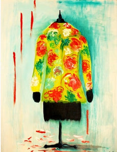 "When Art Meets Fashion, Affordable Fashion Art, Oil on canvas 5"" x 5"", Asian - European yellow, red, white patterned coat"