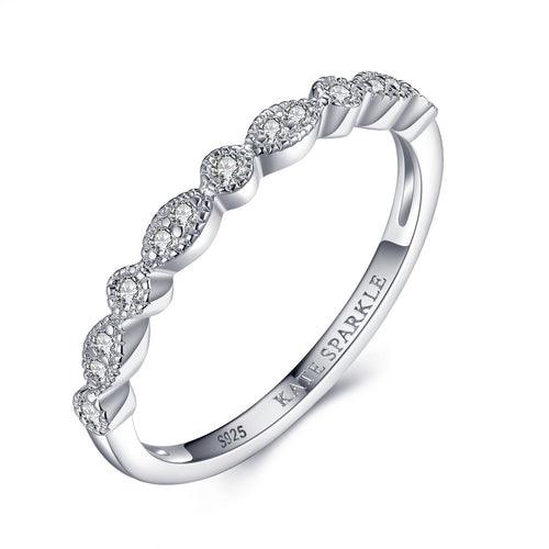 """Elsa"" Vintage-Style Stackable Ring Band in Sterling Silver"