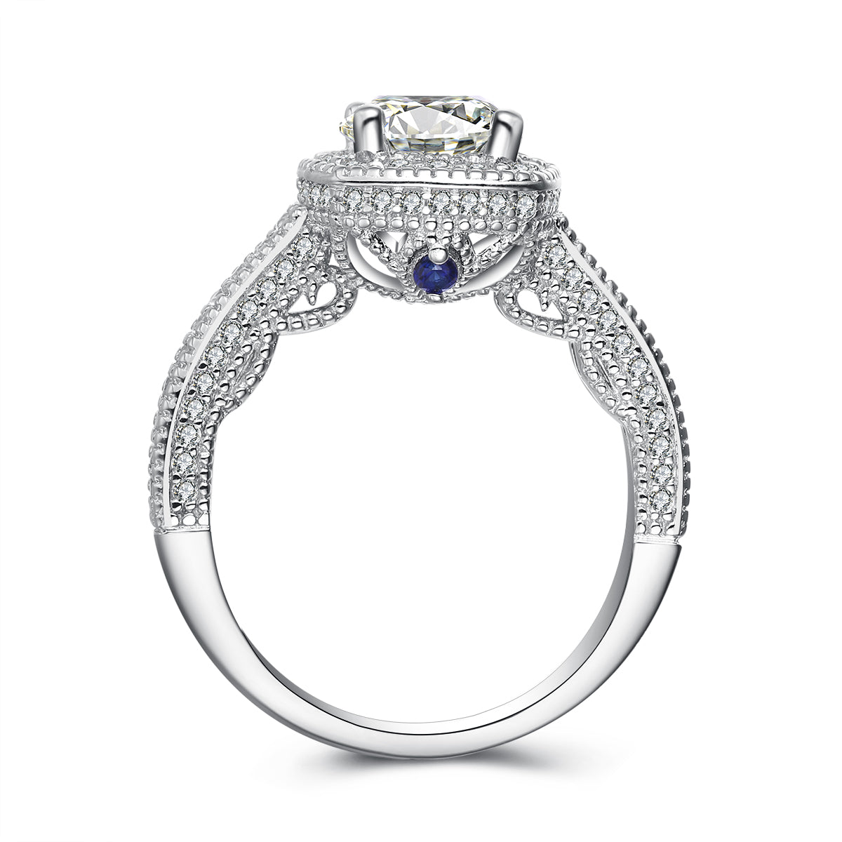 """Kate"" Cushion Halo Classic Engagement Ring With Blue Sapphire Stone in Sterling Silver"