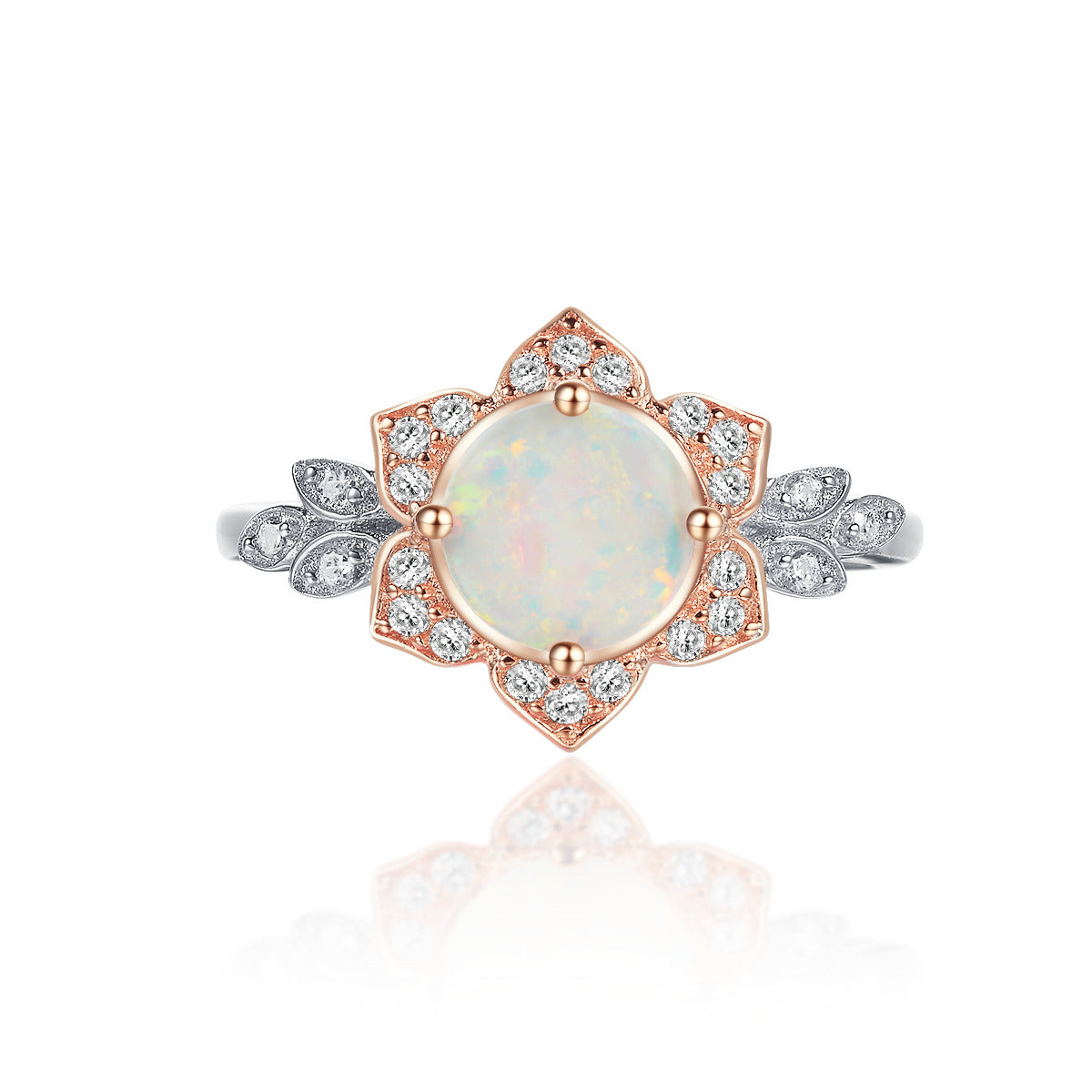 """Unity"" Opal Round-Cut Two-Tone Floral Ring in Sterling Silver"