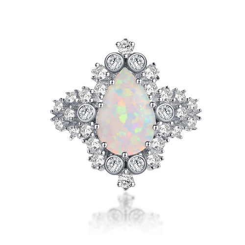 """Monarch"" Vintage Opal Halo Pear-Cut Ring in Sterling Silver"