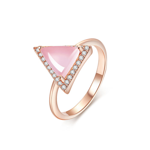 """Harmony"" Natural Rose Quartz Halo Triangle-Cut Sterling Silver Ring in Rose Gold"