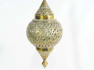 Vintage Moroccan Brass Pendant Lantern, with pierced decoration, round shape. 18''H x 8''W