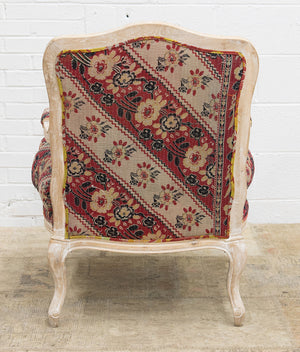 Rococo style armchair of limed oak covered in vintage Indian kantha textiles