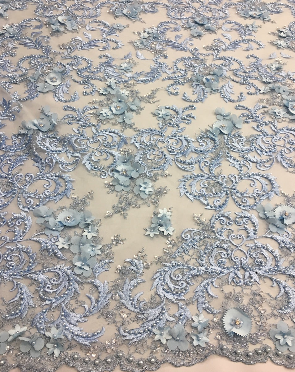 3d hand beaded lace