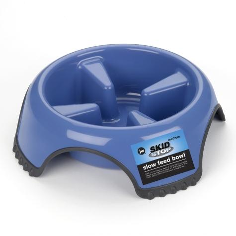 JW Pet Skid Stop Slow Feed Dog Bowl (Color varies, usually comes in blue or white)