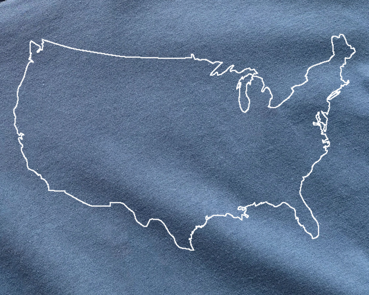 USA outline on Blue Premium Pima Cotton