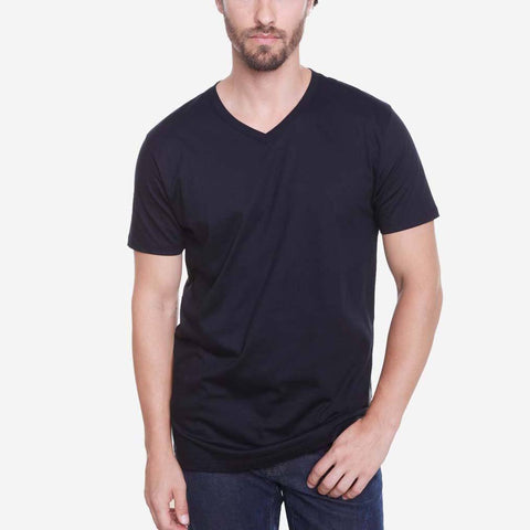 Egyptian Cotton V Neck Perfect Black T-shirt