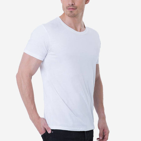 Fierri Premium Pima Cotton Open Crew Neck White T-shirt
