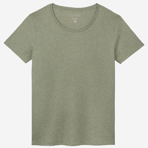 Fierri Pima Cotton Open Crew Neck Heather Green T-shirt