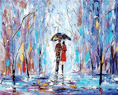 Couple walking in a Cold Day - Paint by Numbers Kits for Adults DIY