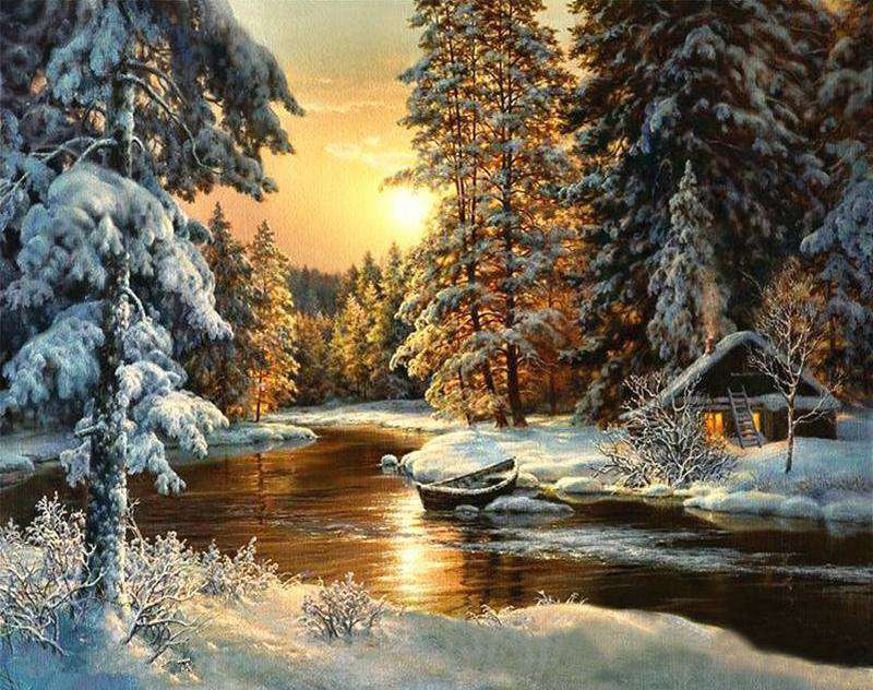 Winter Sunset Forest - Paint by Numbers Kits for Adults DIY