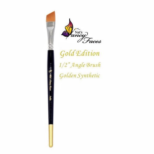 Nat's Fancy Faces Gold Edition 1/2 Inch Angle Brush Golden Synthetic