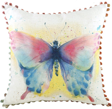 Artistic Animals Butterfly Bobble Trim Cushion
