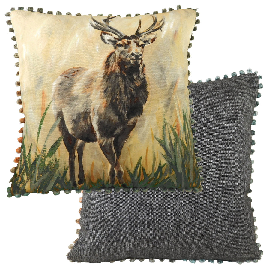 Dartmoor Standing Stag Bobble Trim Cushion