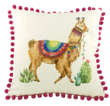 Fantasy Llamas Square Pom-Pom Trim Cushion