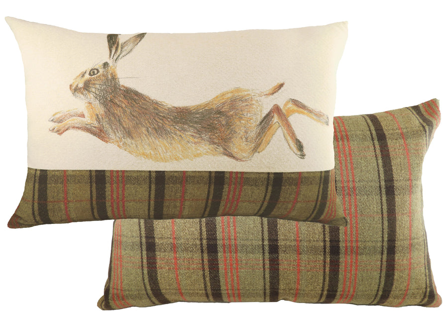 Hand Painted Hare Hunter Green Cushion