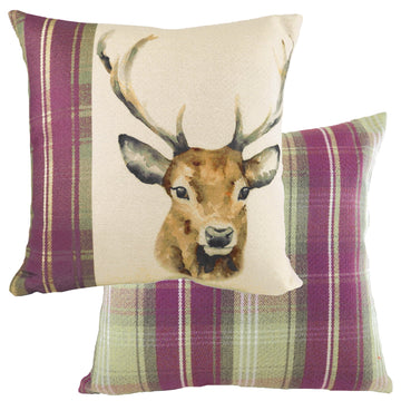 Hand Painted Stag Heather Cushion