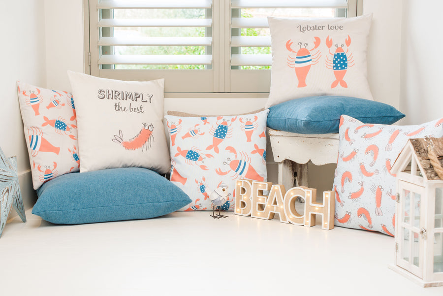 Lobster Blue Repeat Cushion