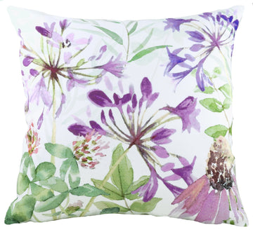 Watercolour Florals Purple Agapanthus Cushion