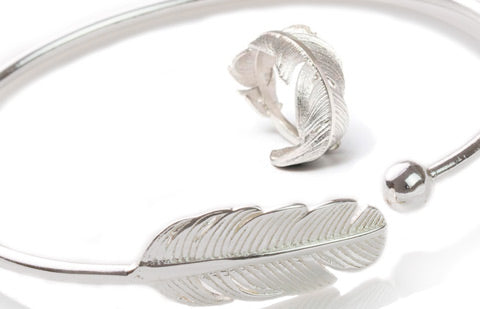 silver feather bracelet & ring
