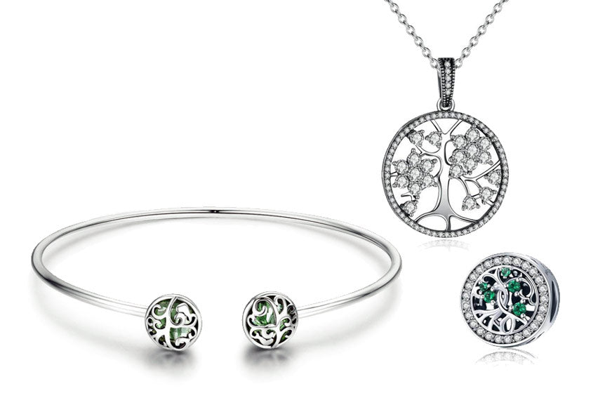 silver tree of life bracelet, necklace & charm