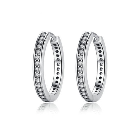 silver cubic zirconia hoop earrings