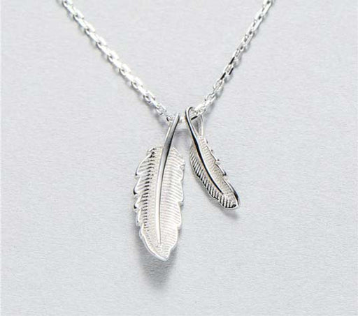 sterling silver double feather necklace women