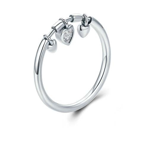 Sterling silver heart 3 charm ring