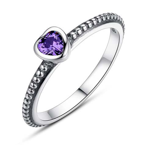 stacking ring with a purple cubic zirconia heart
