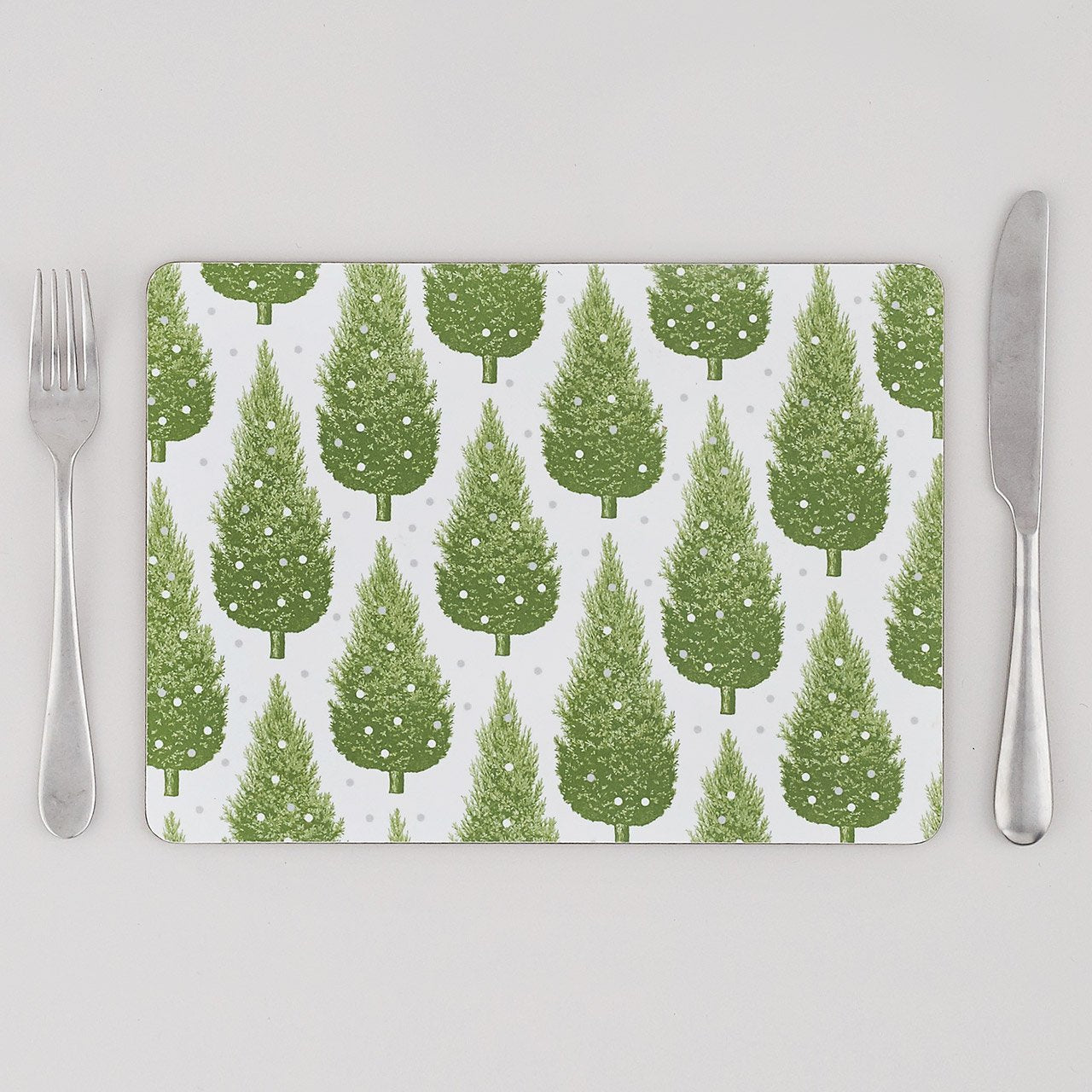 Placemat Set of  4  -  Christmas Tree, Green & Grey