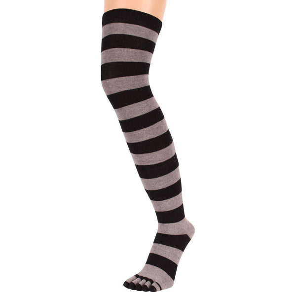 TOETOE Black Striped Over The Knee Toe Socks