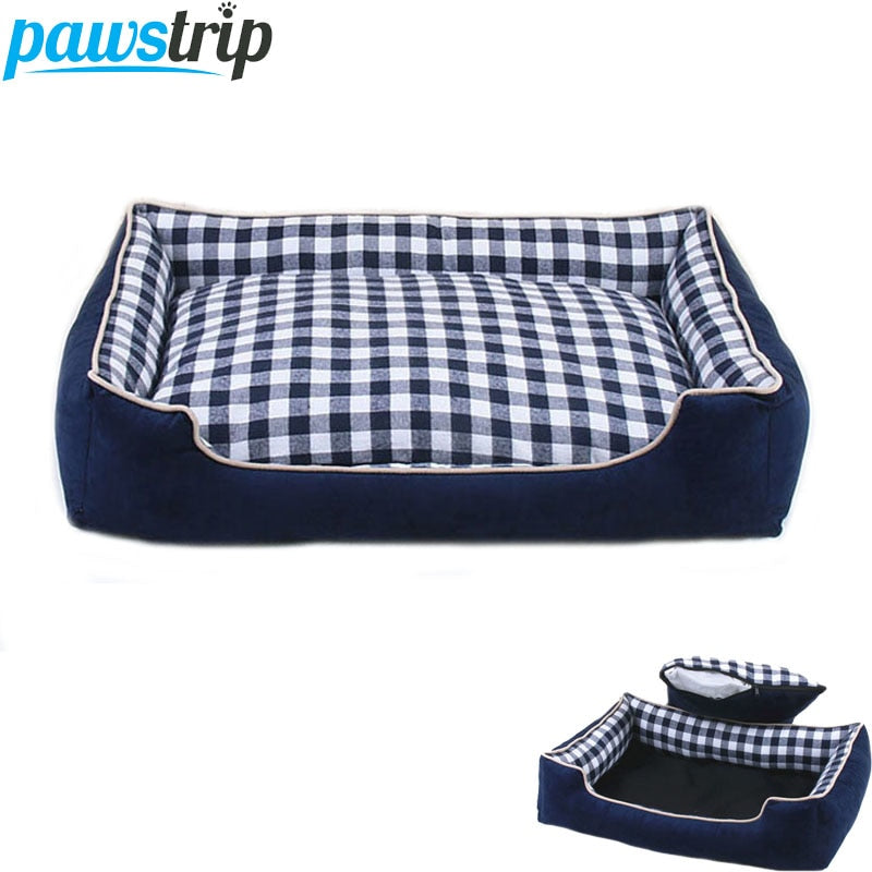 Pawstrip 4 Size Plaid Pet Dog Beds