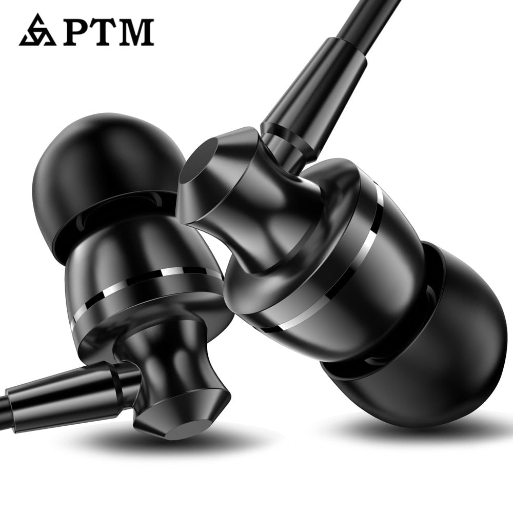 Earphone PTM Noise Canceling Headphone HD HiFi Headset Super Bass Stereo Earbuds for Mobile phone for Iphone xiaomi