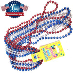 33Inch Patriotic Metallic Star Bead Necklaces  4th of July