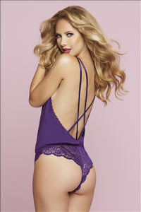 Purple Passion Knit and Lace Teddy