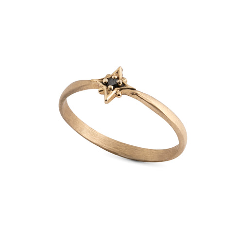 14k gold star ring with black diamond