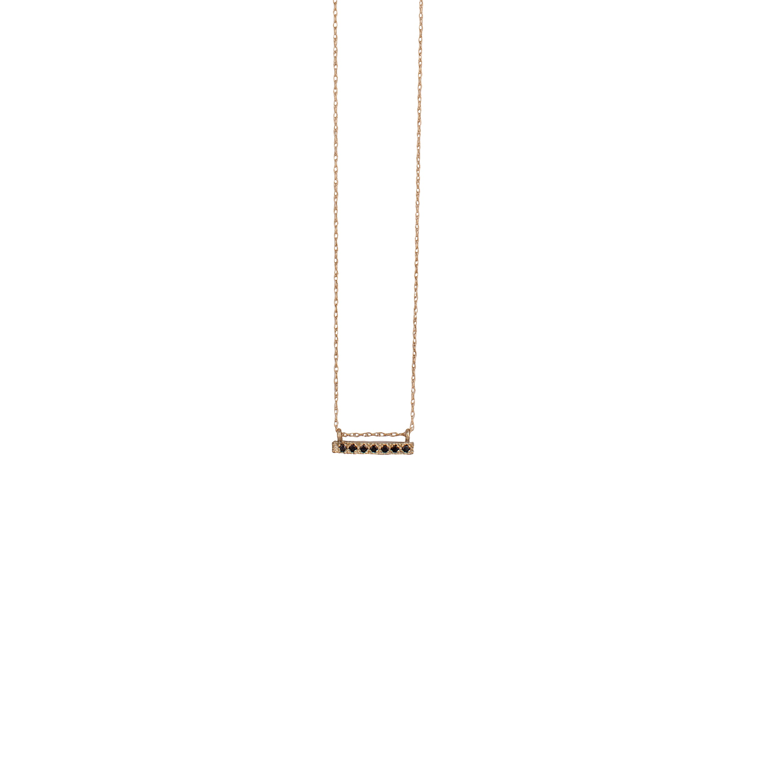 14K gold necklace with black diamonds pendant