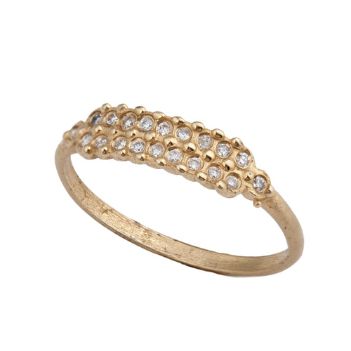 14k gold ring with two rows of diamonds