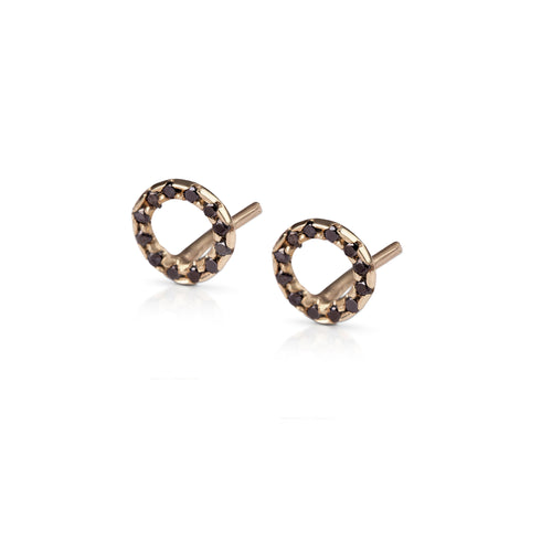 14k gold Round earring with black diamonds