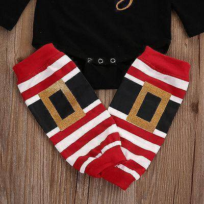 3pcs Set Baby Long Sleeve Romper Leg Warmers Christmas Outfits Clothes